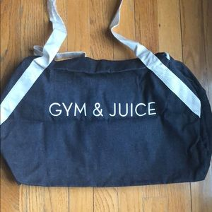 "Private Party Denim Gym Bag "" Gym &Juice"""
